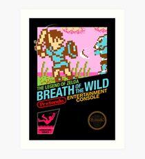 Zelda: Breath of the Wild — 80s Style NES Black Box Art Print