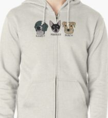 Jenna's Dogs + Names Zipped Hoodie