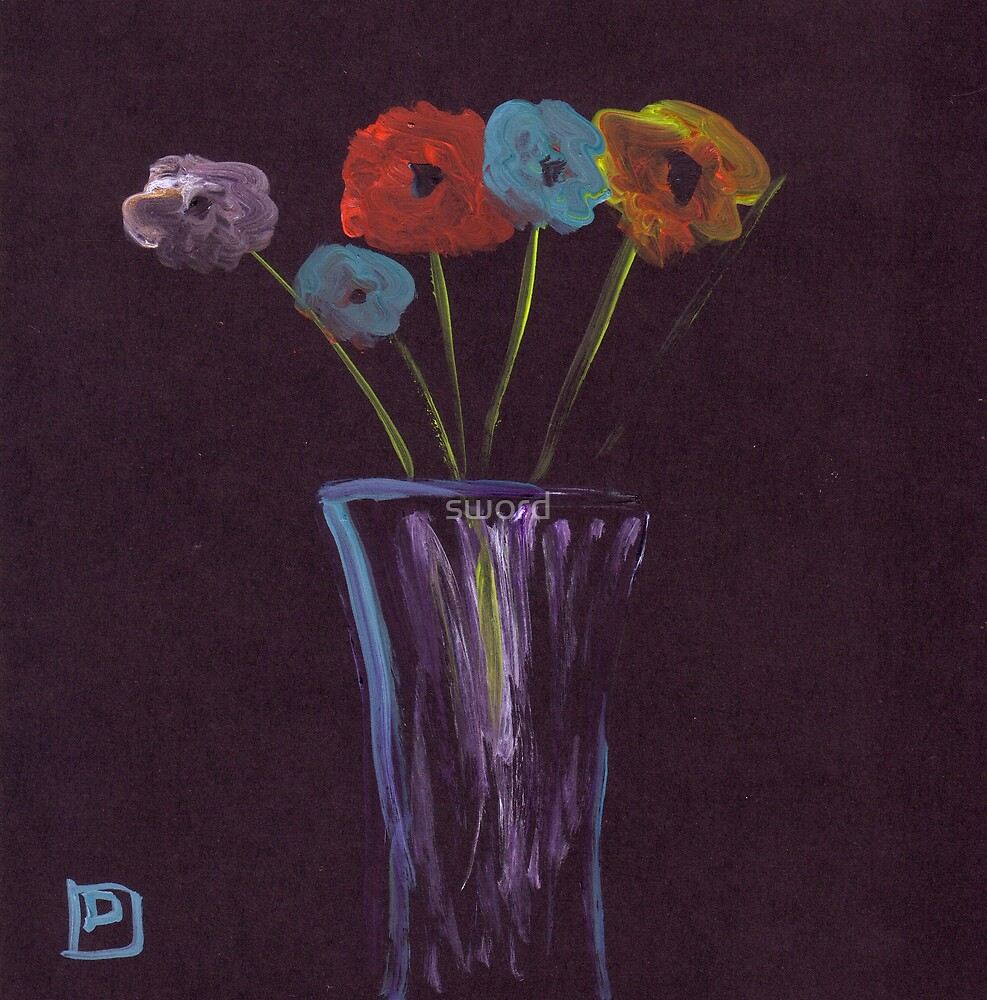 Flowers in a vase by sword