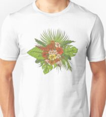 Leaves of tropical plants, exotic flowers buds. Unisex T-Shirt
