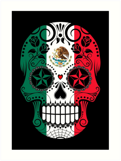 Quot Sugar Skull With Roses And Flag Of Mexico Quot Art Prints By