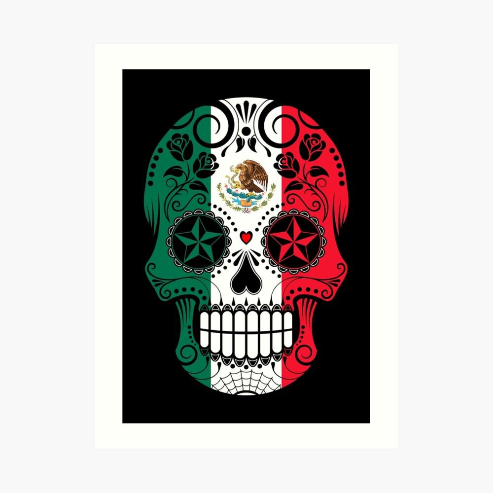 Zuckerschädel mit Rosen und Flagge von Mexiko Kunstdruck