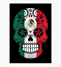Sugar Skull with Roses and Flag of Mexico Photographic Print