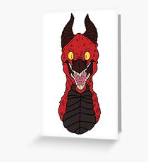 Angry Red Traditional Dragon Greeting Card
