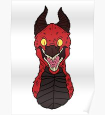 Angry Red Traditional Dragon Poster