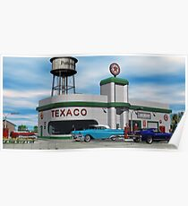 Route 66 1960 Small Town Texaco Gas Station Poster