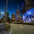 The Chicago Skyline from Maggie Daley park at dusk by Sven Brogren