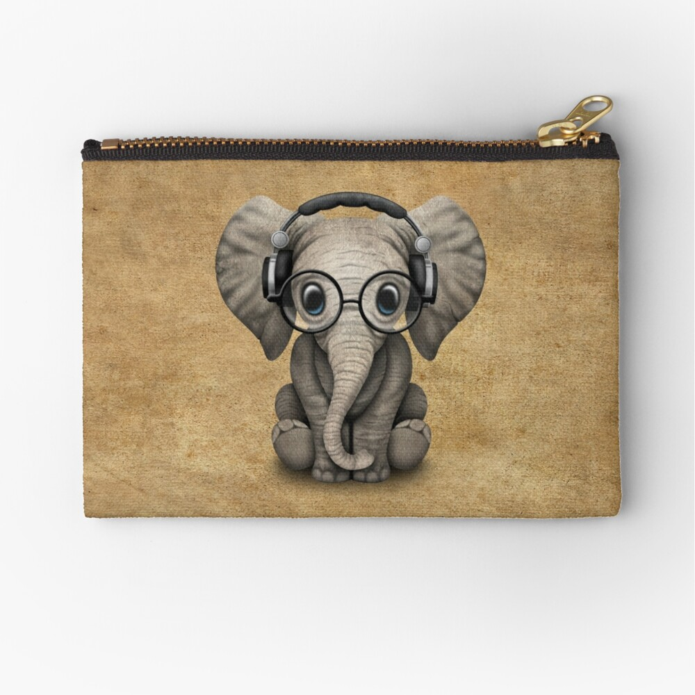 Cute Baby Elephant Dj Wearing Headphones and Glasses Zipper Pouch