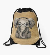 Cute Baby Elephant Dj Wearing Headphones and Glasses Drawstring Bag