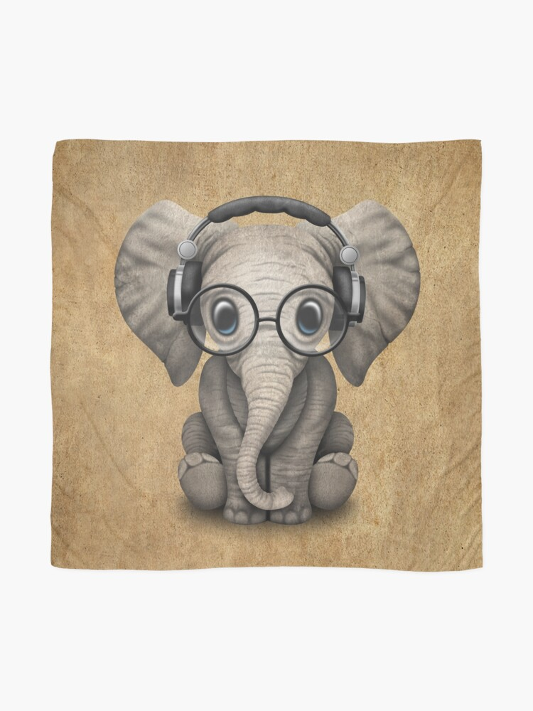 Alternate view of Cute Baby Elephant Dj Wearing Headphones and Glasses Scarf