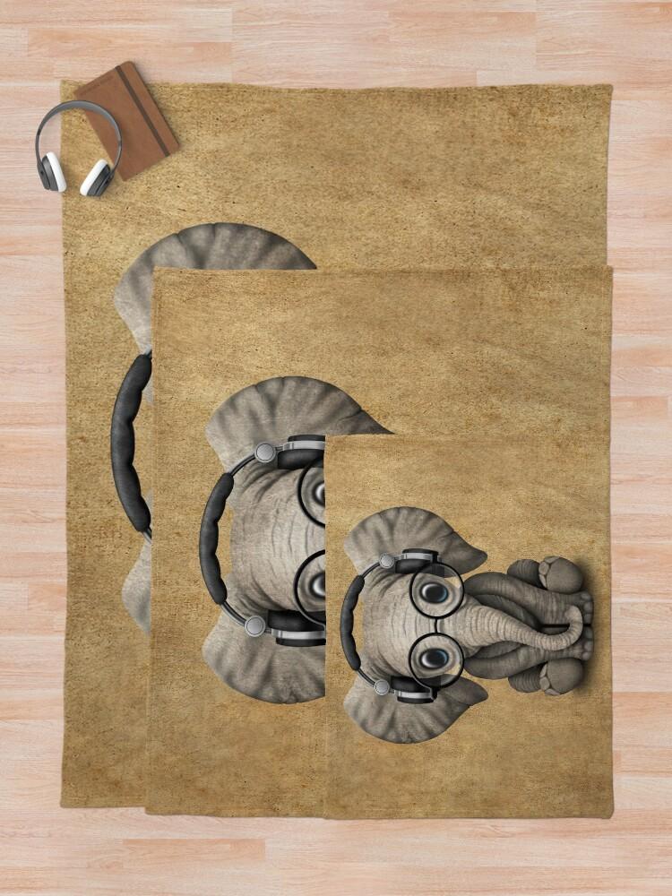 Alternate view of Cute Baby Elephant Dj Wearing Headphones and Glasses Throw Blanket