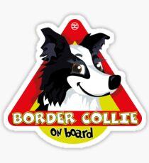 Border Collie On Board - Black & White Female Sticker