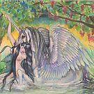 Nymph with Unicorn by Stephanie Small