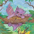 Purple Winged Kitten by Stephanie Small