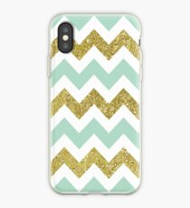 Mint and Gold Faux Glitter Chevron iPhone Case