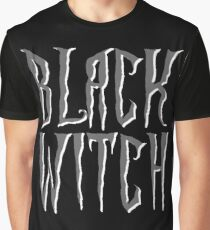 Black witch, gray and white magical, fantasy font Graphic T-Shirt