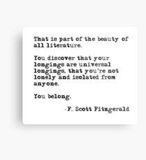 Die Schönheit aller Literatur - F Scott Fitzgerald Metallbild