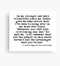 Lienzo En mis años más jóvenes y vulnerables - F Scott Fitzgerald