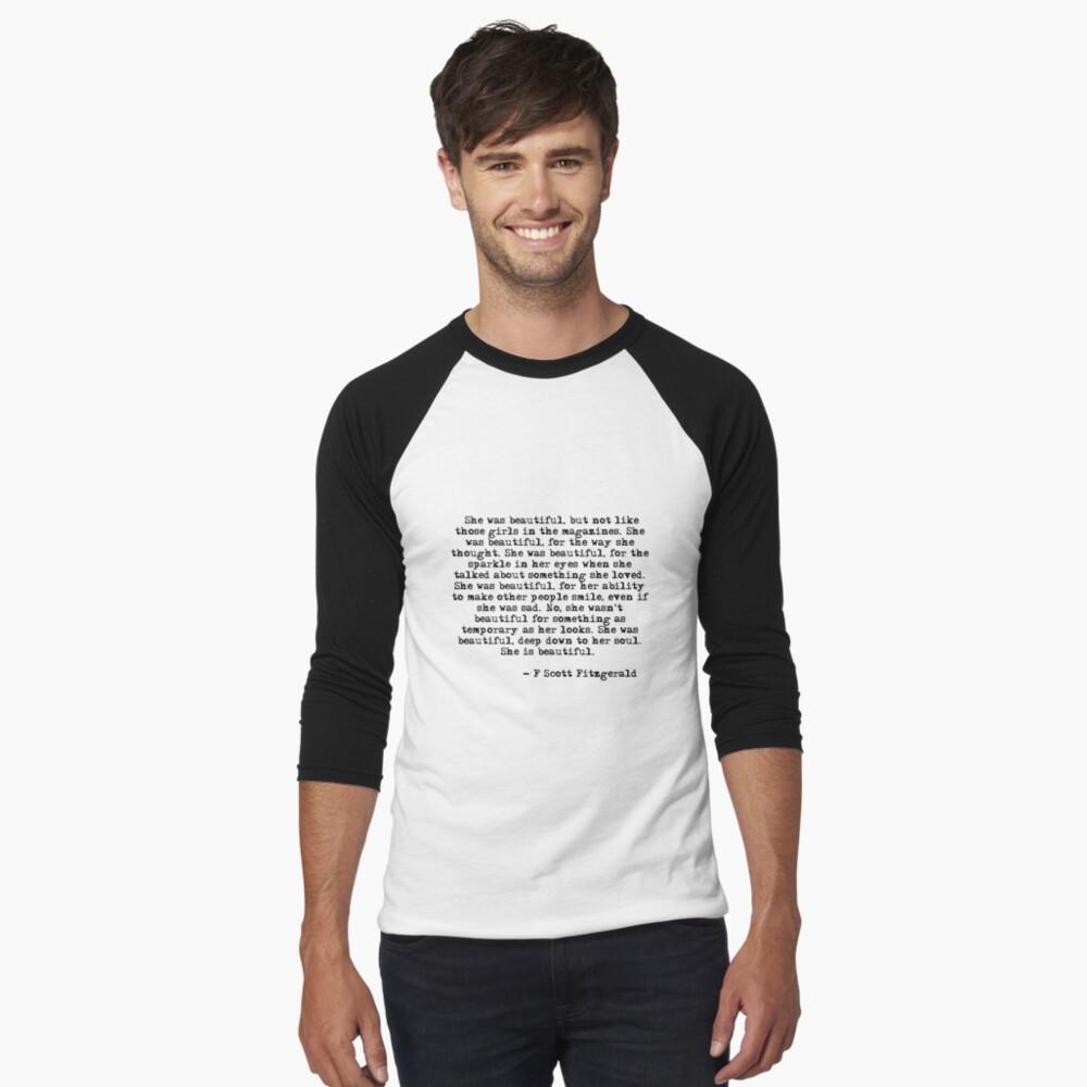 Sie war wunderschön - F Scott Fitzgerald Baseballshirt mit 3/4-Arm