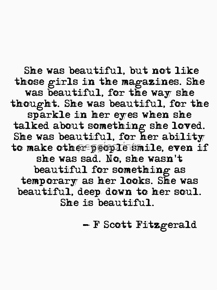 She Was Beautiful F Scott Fitzgerald Unisex T Shirt By