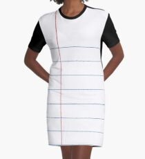 Notebook Paper Graphic - Thin Lines Graphic T-Shirt Dress