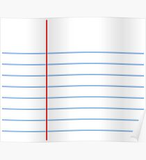 Notebook Paper Graphic - Wide Lines Poster