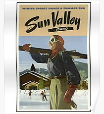 Vintage Sun Valley Idaho Ski Design Poster