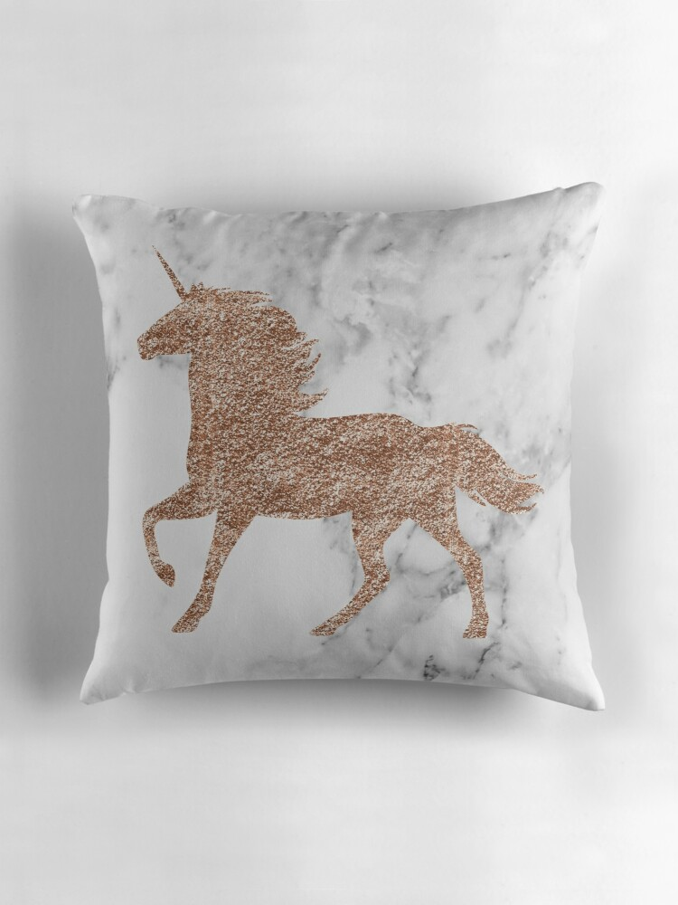 Quot Rose Gold Marble Unicorn Quot Throw Pillows By Peggieprints