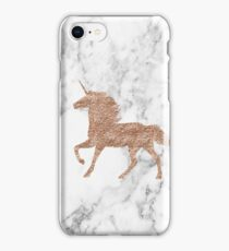 Rose gold marble unicorn iPhone Case/Skin
