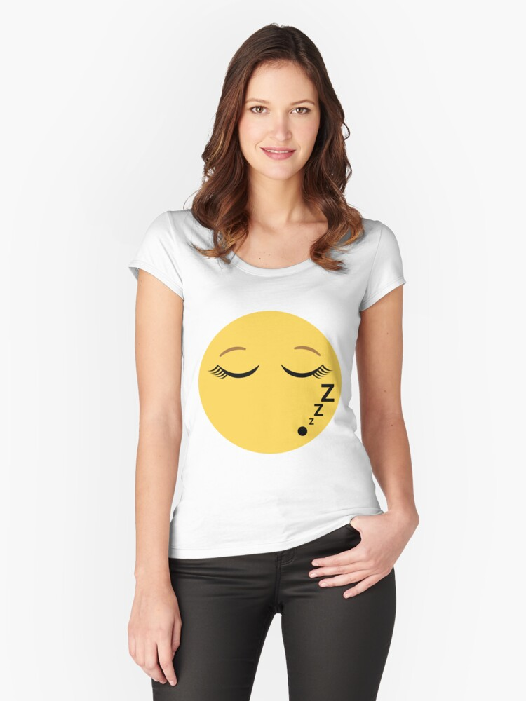 sleeping emoji with eyelashes women s fitted scoop t shirt by