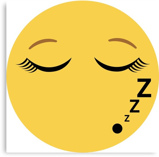 sleeping emoji with eyelashes canvas prints by p31apparel redbubble
