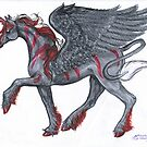 Black and Red Unicorn by Stephanie Small