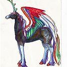 Dark Rainbow Winged Unicorn by Stephanie Small