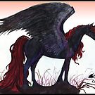 Black unicorn winged pegacorn red mane by Stephanie Small