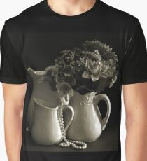 Pitchers and Flowers in Monotone Graphic T-Shirt