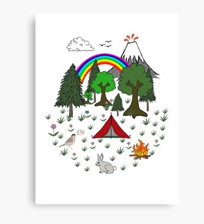 Camping Diorama Stickers Canvas Print