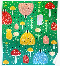 Colorful bugs and moths Poster