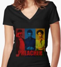 Preacher Red, Blue & Yellow Design Women's Fitted V-Neck T-Shirt