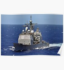 The guided-missile cruiser USS Chancellorsville transits the Pacific Ocean. Poster