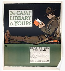 The camp library is yours Read to win the war Poster