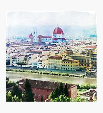 Watercolor painting of Florence Italy Photographic Print