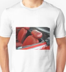 Two red leather seats of convertible car Unisex T-Shirt