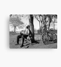 Man his bike and radio Canvas Print