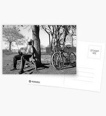 Man his bike and radio Postcards