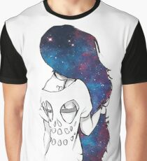 Hipster illustration girl hair universe -  Graphic T-Shirt