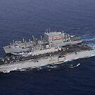 USS Kearsarge zieht neben USNS Lewis und Clark für eine Auffüllung auf See. von StocktrekImages