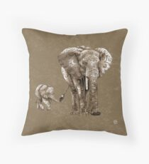 Swirly Elephant Family Throw Pillow