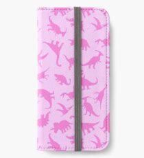 Pink Dinosaurs Pattern iPhone Wallet