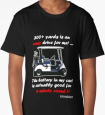 300+ Yards Is an Easy Drive for Me Funny Golfing Gift Design by Kitnabber Black Long T-Shirt