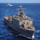 USS Comstock führt einen Konvoi von Schiffen im Indischen Ozean. von StocktrekImages